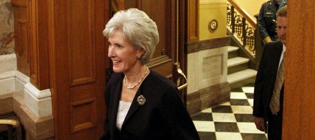 Kansas Gov. Kathleen Sebelius enters the House chamber as she prepares to deliver her State of the State address on Jan. 12.