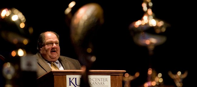 Kansas University head football coach Mark Mangino thanks the players, families and supporting staff during the Kansas football awards ceremony Saturday, Jan. 31, 2009, at the Lied Center.
