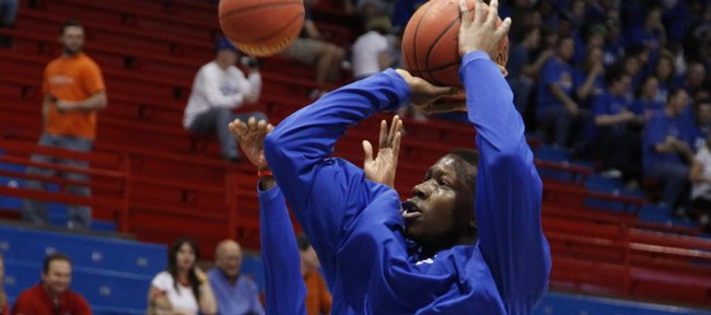 Kansas forward Mario Little pulls up for a jumper during warmups befire tipoff against Oklahoma State Saturday, Feb. 7, 2009 at Allen Fieldhouse.