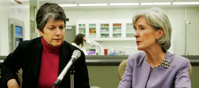 U.S. Homeland Security Secretary Janet Napolitano, left, and Gov. Kathleen Sebelius speak during a news conference at Kansas State University's Biosecurity Research Institute in Manhattan on Tuesday. Napolitano is on a two-day visit to the state.