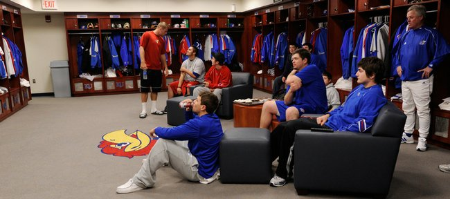 The KU baseball team enjoys the splendors of their new digs at the McCarthy Clubhouse.