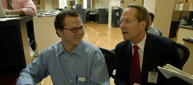 Christian Morgan, left, with Jim Barnett, Republican candidate for Kansas governor in 2006.