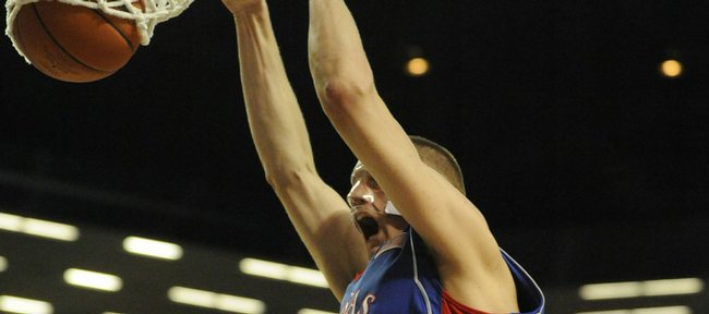 KU's Cole Aldrich dunks on K-State on Saturday, Feb. 14, 2009 at Bramlage Coliseum in Manhattan.