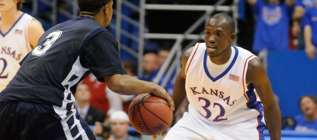 Kansas University guard Tyrone Appleton, right, defends Washburn guard Mario Scott during in this file photo from Nov. 4, 2008.