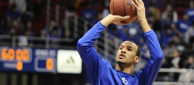 Kansas guard Travis Releford pulls up for a jumper during warmups before tipoff against Iowa State, Wednesday, Feb. 18, 2009 at Allen Fieldhouse.