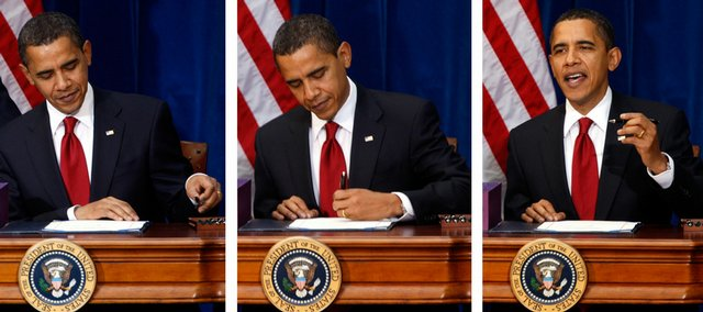 President Barack Obama picks up the first pen, left, signs the $787 billion economic stimulus bill, middle, and jokes, right, about having to use more than one pen to sign the historic bill during a ceremony Tuesday in the Museum of Nature and Science in Denver.
