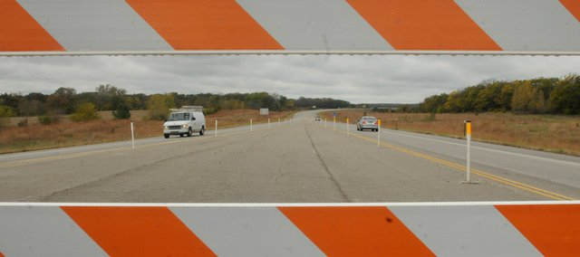 Cars travel on U.S. 59 just south of Lawrence in this file photo. Backers of the South Lawrence Trafficway project hoped that the American Recovery and Reinvestment Act would help complete the roadwork.
