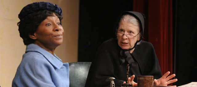 "From left, Reta Cosby, who plays Mrs. Muller, and Sandra Gray, who plays Sister Aloysius, rehearse a scene from ""Doubt"" at Lawrence Community Theatre, 1501 N.H."