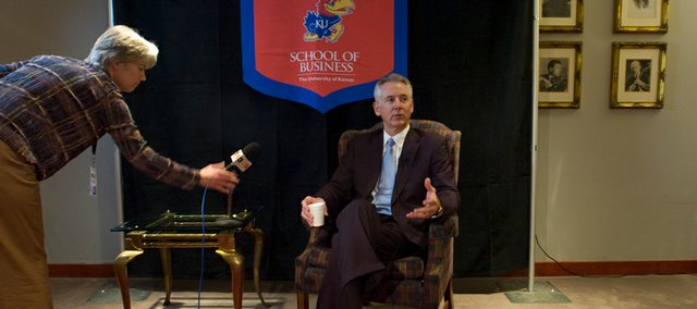 Former Kansas Gov. Bill Graves conducted a news conference Thursday afternoon at the Lied Center. Graves also spoke Thursday night in the Anderson Chandler Lecture Series sponsored by the Kansas University School of Business.