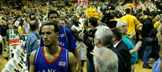 Kansas guard Travis Releford, front, and the Jayhawks make their way from the court following a 62-60 loss to Missouri on Feb. 9 in Columbia, Mo. The loss has motivated many Jayhawks for today's matchup, which will take place at 1 p.m. today in Allen Fieldhouse.