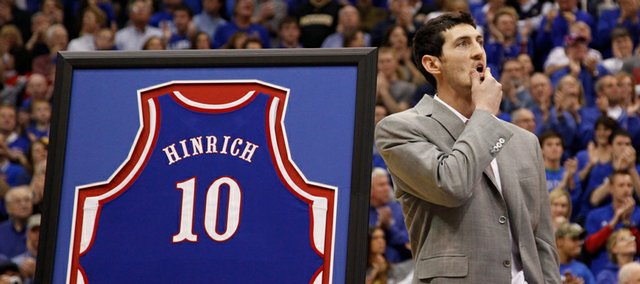 Former Kansas guard Kirk Hinrich has his jersey retired during a halftime ceremony against Missouri on Sunday, March 1, 2009 at Allen Fieldhouse.