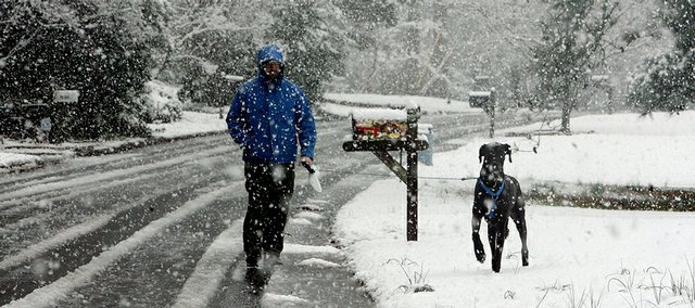Chris Martin walks his Great Dane, Sydney, in his North Druid Hills neighborhood of Atlanta on Sunday afternoon. It was Sydney's first experience with snow. A powerful March snowstorm blanketed much of Alabama and then marched across Georgia on Sunday, forcing some flight cancellations in Atlanta. The East Coast braced for a potential pummeling amid winter storm warnings.