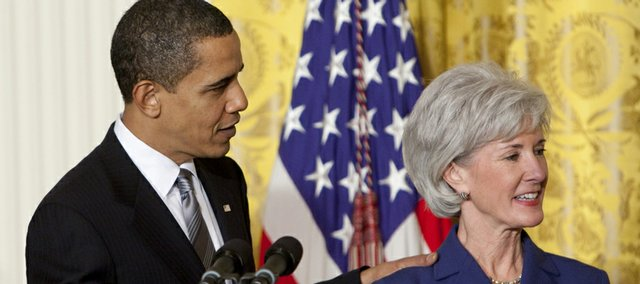 President Barack Obama announces Kansas Gov. Kathleen Sebelius as his nominee for Health and Human Services secretary Monday in the East Room of the White House.