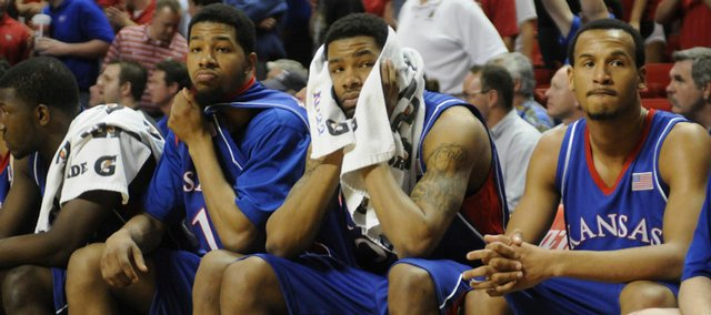 The Kansas bench looks on as the final seconds tick away in KU's loss to Texas Tech on Wednesday, March 4, 2009 at United Spirit Arena in Lubbock, Texas.