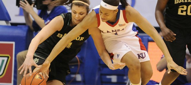 Kansas forward Aishah Sutherland wrestles for a loose ball with Baylor forward Whitney Zachariason during the second half Wednesday, March 4, 2009 at Allen Fieldhouse.