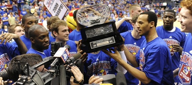 Kansas won its fifth straight Big 12 title last season and celebrated with a trophy ceremony.