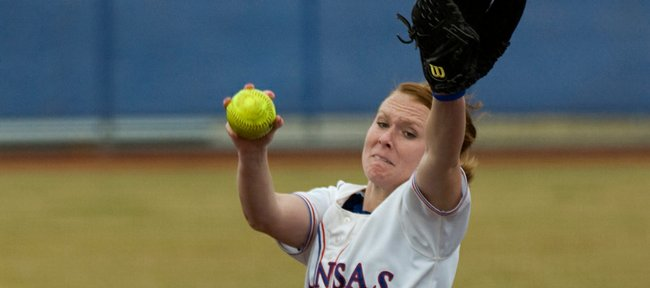 Kansas starting pitcher Val George delivers. The Jayhawks suffered a 5-4 loss to North Dakota State on Friday at Arrocha Ballpark.