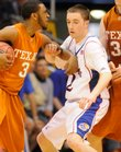 KU's Brady Morningstar defends Texas point guard A.J. Abrams on Saturday, March 7, 2009 at Allen Fieldhouse.