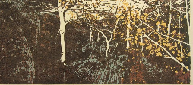 """Nurture,"" a woodcut by Chancey Jahnig that will be included in the exhibit ""Trees I Have Known"" at the Lawrence Percolator art gallery."