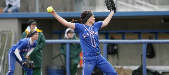 Kansas pitcher Sarah Vertelka delivers a pitch during the game against North Dakota State on Sunday, March 8, 2009, at Arrocha Ballpark.