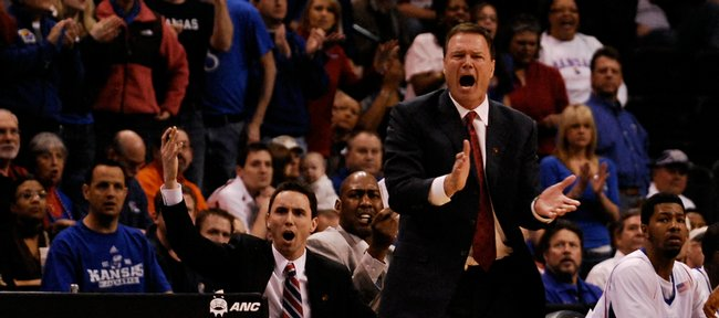 Kansas head coach Bill Self disputes an official's call during the first half Thursday, March 12, 2009 at the Ford Center in Oklahoma City.