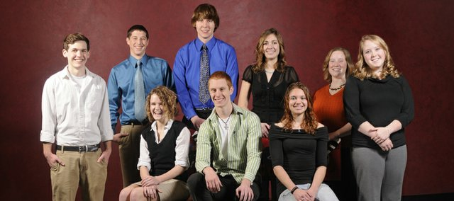 2009 Academic All-Stars, from left, are Jeff Miller, Bishop Seabury Academy, Jarrod Bechard, McLouth High, Julia Rose Faubion Davidson, Bishop Seabury, Jacob Rhodes, Oskaloosa High, Jared Willits, Lawrence Free State, Lauren Crandon, Lawrence Free State, JoAnna Male, Eudora High, Alexandra Hyler, Lawrence High and Marian Mersmann, Eudora High.