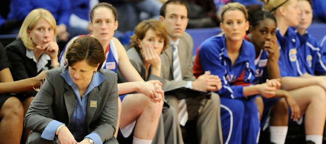 Kansas head coach Bonnie Henrickson hangs her head as time dwindles late in the second half after an Oklahoma bucket Friday, March 13, 2009 at the Cox Convention Center in Oklahoma City.