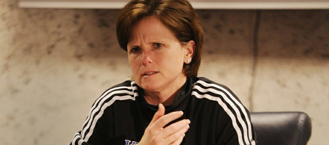 Kansas women's basketball coach Bonnie Henrickson and the Jayhawks are picked to finish in a tie for second in the Big 12 conference.