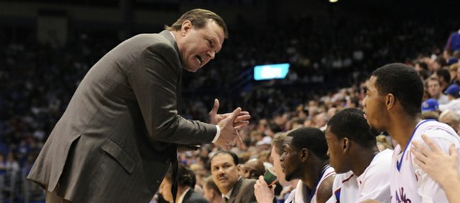 Kansas coach Bill Self turns up the intensity with forward Marcus Morris in this Jan. 6 file photo at Allen Fieldhouse. Self is hoping his Jayhawks come out with more energy in the NCAA Tournament after exiting last week's Big 12 tournament early in Oklahoma City.