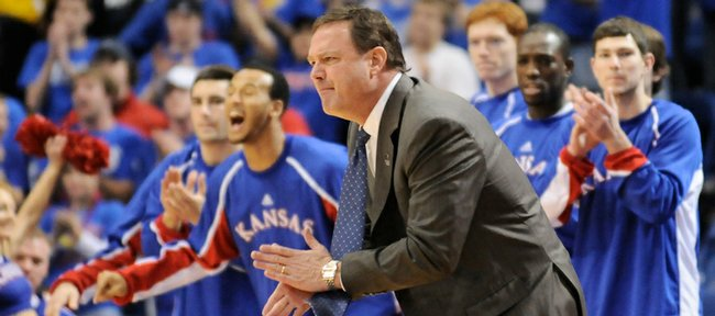 Kansas head coach Bill Self claps his hands after a bucket by the Jayhawks during the first half Friday, March 20, 2009 at the Metrodome in Minneapolis.