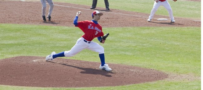 Kansas sophomore T. J. Walz pitches against Texas during the top of the sixth inning. Walz gave up three runs on three hits in 51⁄3 innings in the Jayhawks' 4-3 victory on Saturday at Hoglund Ballpark.
