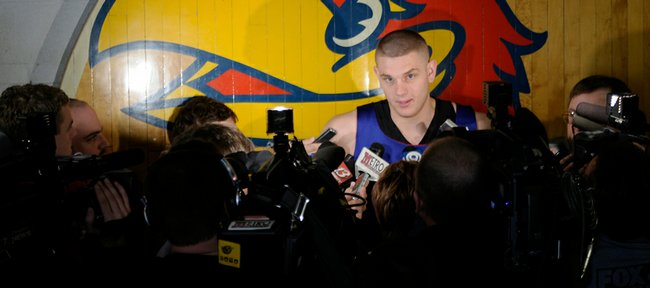 Kansas sophomore center Cole Aldrich is interviewed during a news conference on March 24 outside the locker rooms at Allen Fieldhouse.