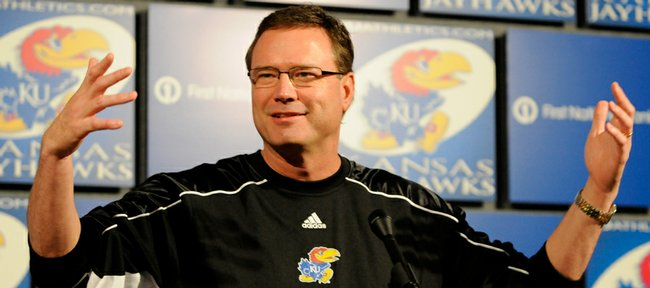 Kansas University men's basketball coach Bill Self talks about the upcoming Sweet 16 game against Michigan State during a news conference on Tuesday at Hadl Auditorium.