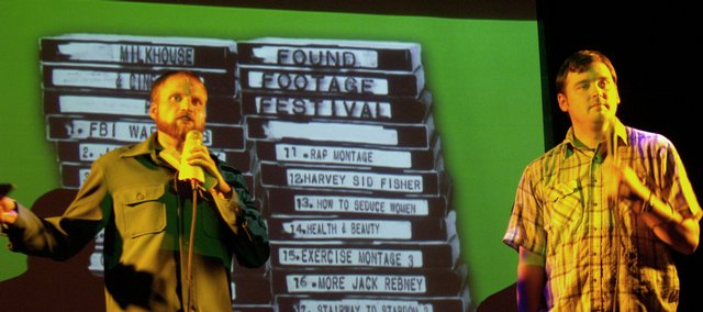 Nick Prueher, left, and Joe Pickett introduce another video clip at a Found Footage Festival show in New York.