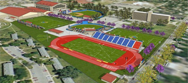 An architectural rendering of a new track-only facility being considered for the area south of the old football practice facility, along 19th Street. There would be seating for 5,000 people. Total costs of the track facility would be about $8 million.