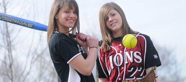 Senior softball players Maggie Hull, left, of Free State High, and Mariah Vaughn of Lawrence High will provide leadership for their respective squads this spring. Both teams will begin their seasons today: Free State at 4:15 p.m. at home against Shawnee Mission East, and Lawrence High at 4:15 p.m. at SM North.