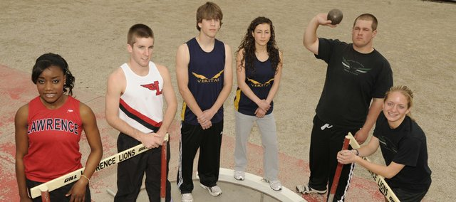 Richard Gwin/Journal-World Photo.The city track preview for 2009 from left, LHS  Louisa Hussein, sr and Ben Wilson sr, Veritas Jeremiah Johnson sr, and Sheren Fattaahi sr, FSHS Colter Scott sr, and Kyra Kilwein.