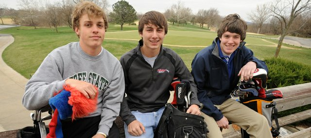 City high school golfers, from left, Seth McCauley, Free State; Spencer Scott, Lawrence High; and Taylor Zook, Veritas are eagerly awaiting the start of the season.