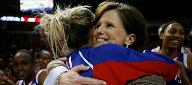 Kansas head coach Bonnie Henrickson hugs Katie Smith after defeating New Mexico 78-69 in the WNIT basketball game on Monday, March 30, 2009 in Rio Rancho, N.M. Henrickson signed a three-year extension with KU on Thursday.
