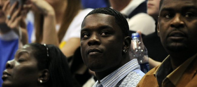 Kansas recruit Lance Stephenson looks to the student section as they chant his name Saturday, Feb. 21, 2009 during his visit to Allen Fieldhouse.