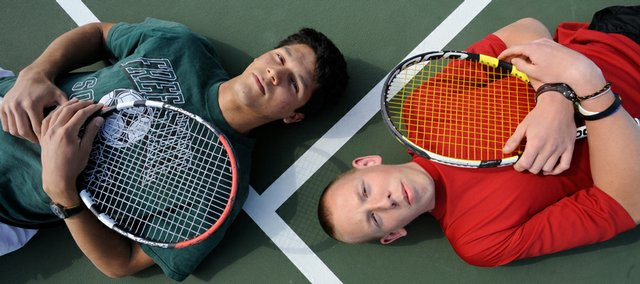 Free State's Rodolfo Gauto Mariotti, left, and Lawrence High's Taylor Seratte lead their teams into the high school boys tennis season.