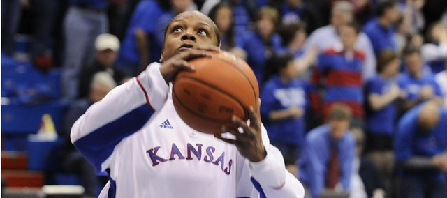 Kansas forward Danielle McCray goes up for a layup prior to tipoff against Illinois State, Wednesday, April 1, 2009 at Allen Fieldhouse.