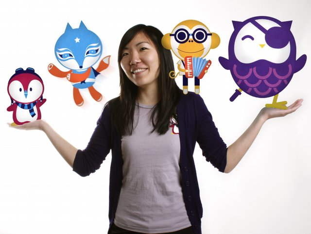 Sarah Sung with the characters she created for the Lucha Narrative.