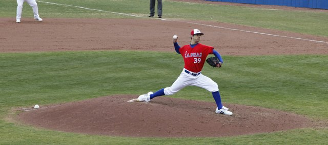 Sophomore T. J. Walz pitches during the sixth inning for the Jayhawks against Baylor in Saturday's baseball game at Hoglund Ballpark.