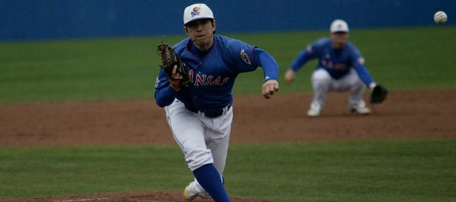 Kansas University pitcher Travis Blankenship delivers a pitch to Baylor. The Bears tied a school record with eight home runs in a wind-aided 21-9 rout of the Jayhawks on Sunday at Hoglund Ballpark.