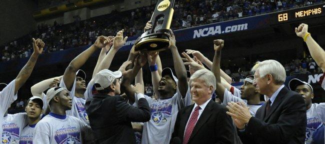 Kansas celebrates their national title against Memphis on Monday, April 7, 2008 at the Alamodome in San Antonio, Texas.