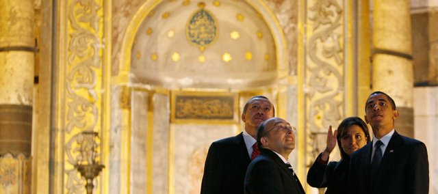 President Barack Obama is accompanied by Turkish Prime Minister Recep Tayyip Erdogan, far left, as he visits Hagia Sophia on Tuesday in Istanbul. Others are an unidentified guide and translator. It likely will take a long time to gauge the success of Obama's recent overseas trip.