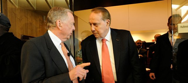 Energy magnate T. Boone Pickens and former Sen. Bob Dole were at the Dole Institute for a town hall-style event Wednesday where Pickens discussed the nation's energy future.