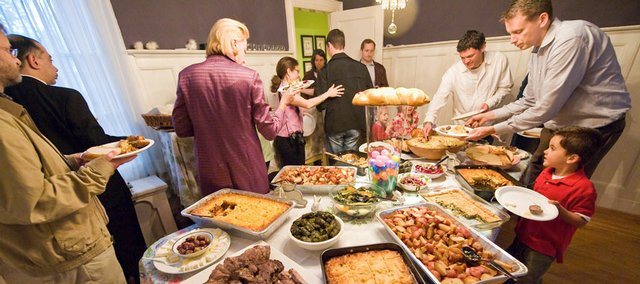A buffet table at last year's Easter celebration at a home in Washington.