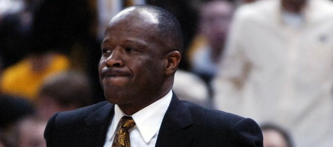 Missouri head coach Mike Anderson curls his lips as he watches from the bench Saturday, Jan. 19, 2008 at Mizzou Arena in Columbia, Missouri.